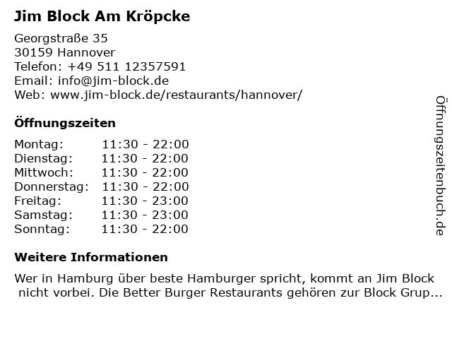 Jim Block Am Kröpcke in Hannover: Adresse und Öffnungszeiten