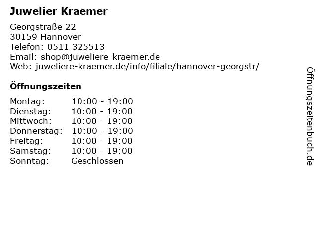 Juwelier Kraemer in Hannover: Adresse und Öffnungszeiten