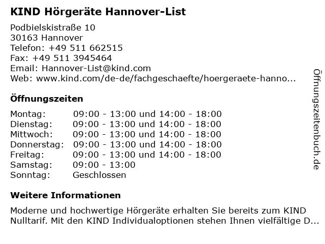 KIND Hörgeräte Hannover-List in Hannover: Adresse und Öffnungszeiten