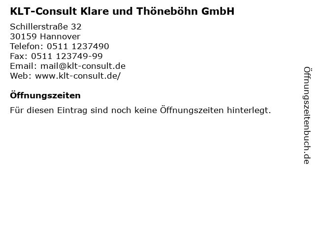 KLT-Consult Klare und Thöneböhn GmbH in Hannover: Adresse und Öffnungszeiten