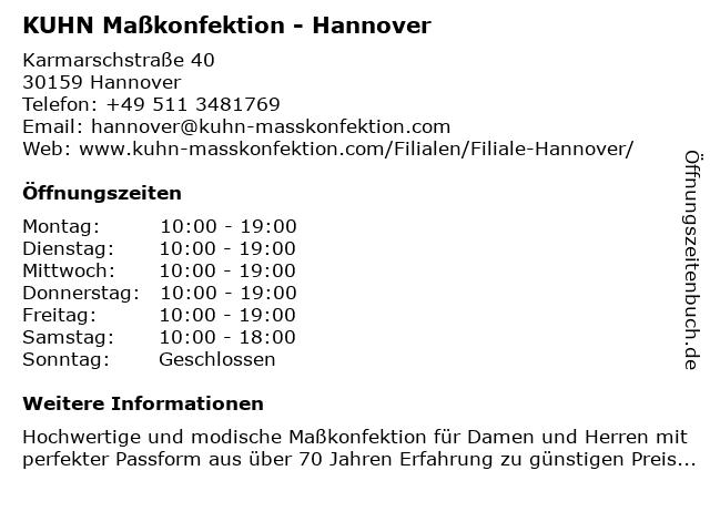 KUHN Maßkonfektion - Hannover in Hannover: Adresse und Öffnungszeiten