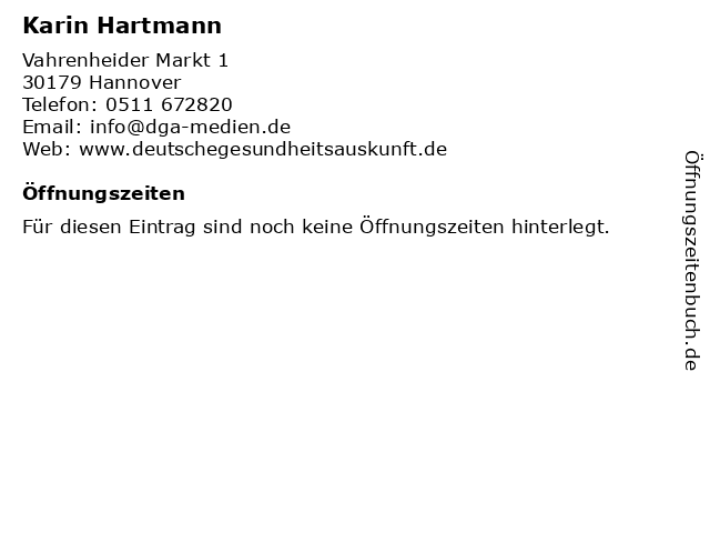 Karin Hartmann in Hannover: Adresse und Öffnungszeiten