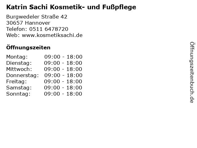 Katrin Sachi Kosmetik- und Fußpflege in Hannover: Adresse und Öffnungszeiten