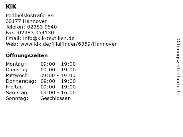 KiK in Hannover: Adresse und Öffnungszeiten