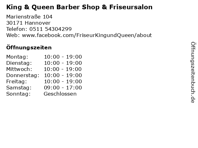 King & Queen Barber Shop & Friseursalon in Hannover: Adresse und Öffnungszeiten