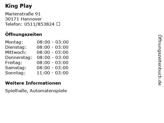 King Play in Hannover: Adresse und Öffnungszeiten