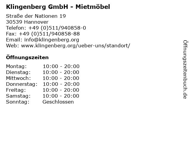ᐅ Offnungszeiten Klingenberg Gmbh Mietmobel Strasse Der