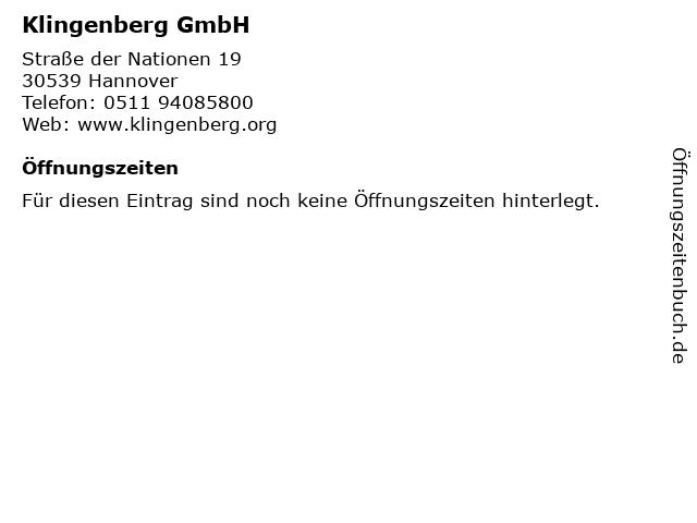 ᐅ Offnungszeiten Klingenberg Gmbh Strasse Der Nationen 19 In