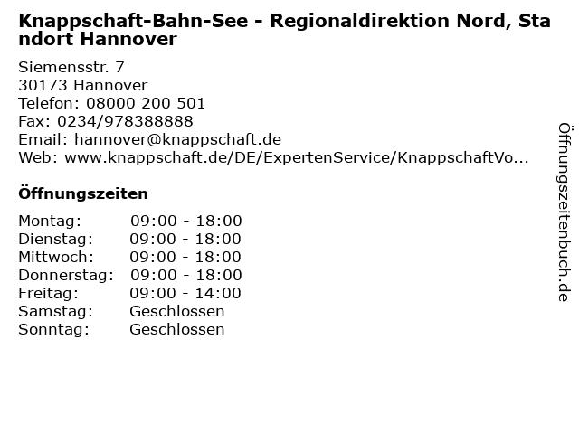Knappschaft-Bahn-See - Regionaldirektion Nord, Standort Hannover in Hannover: Adresse und Öffnungszeiten