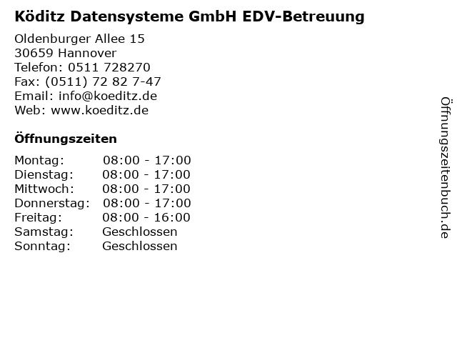 Köditz Datensysteme GmbH EDV-Betreuung in Hannover: Adresse und Öffnungszeiten