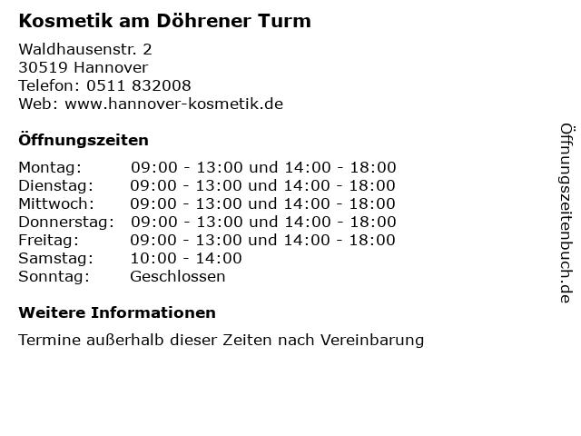 Kosmetik am Döhrener Turm in Hannover: Adresse und Öffnungszeiten
