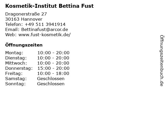 Kosmetik-Institut Bettina Fust in Hannover: Adresse und Öffnungszeiten