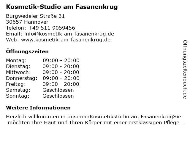 Kosmetik-Studio am Fasanenkrug in Hannover: Adresse und Öffnungszeiten