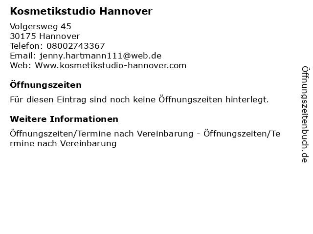 Kosmetikstudio Hannover in Hannover: Adresse und Öffnungszeiten