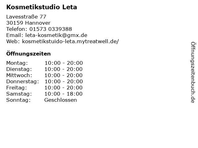 Kosmetikstudio Leta in Hannover: Adresse und Öffnungszeiten
