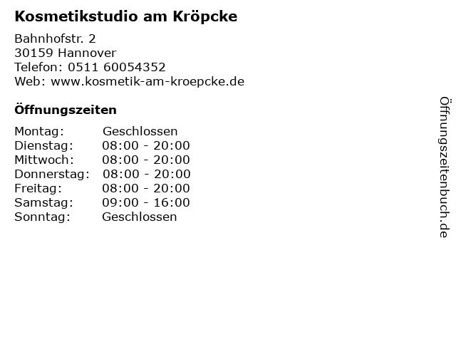 Kosmetikstudio am Kröpcke in Hannover: Adresse und Öffnungszeiten