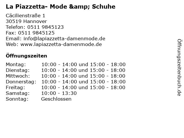 La Piazzetta- Mode & Schuhe in Hannover: Adresse und Öffnungszeiten