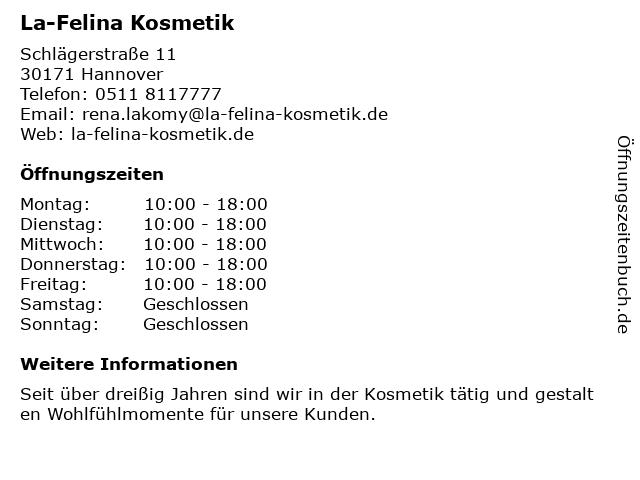 La-Felina Kosmetik in Hannover: Adresse und Öffnungszeiten