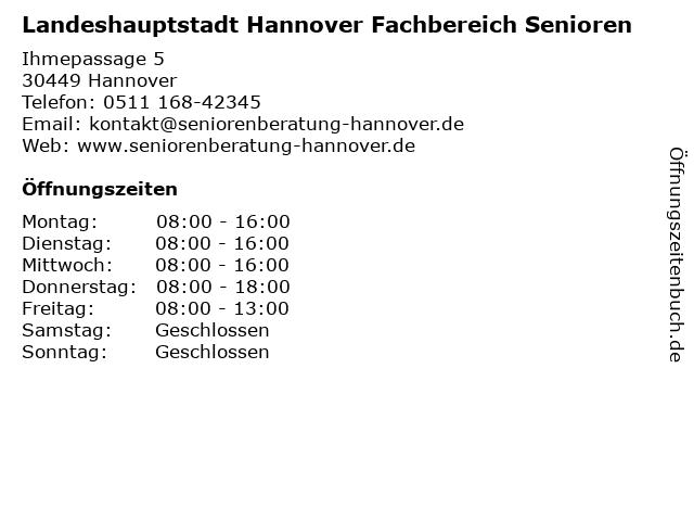 Landeshauptstadt Hannover Fachbereich Senioren in Hannover: Adresse und Öffnungszeiten