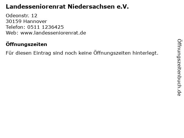 Landesseniorenrat Niedersachsen e.V. in Hannover: Adresse und Öffnungszeiten