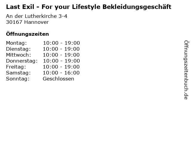 Last Exil - For your Lifestyle Bekleidungsgeschäft in Hannover: Adresse und Öffnungszeiten