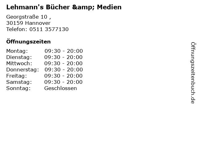 Lehmann's Bücher & Medien in Hannover: Adresse und Öffnungszeiten