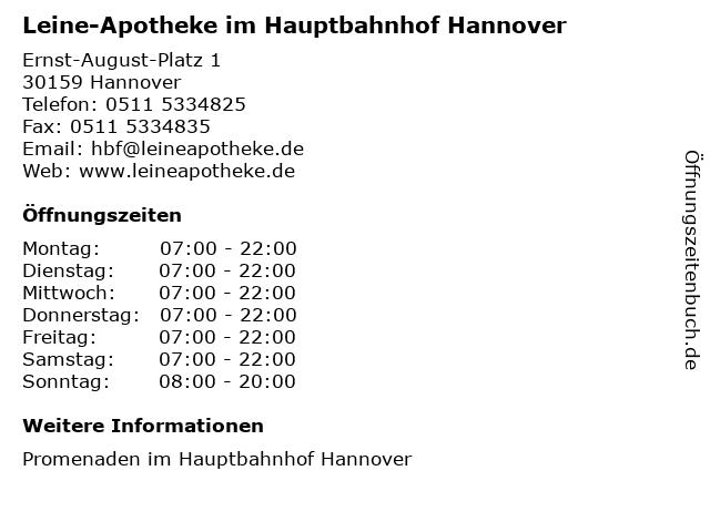 Leine-Apotheke im Hauptbahnhof Hannover in Hannover: Adresse und Öffnungszeiten