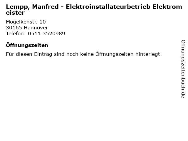 Lempp, Manfred - Elektroinstallateurbetrieb Elektromeister in Hannover: Adresse und Öffnungszeiten