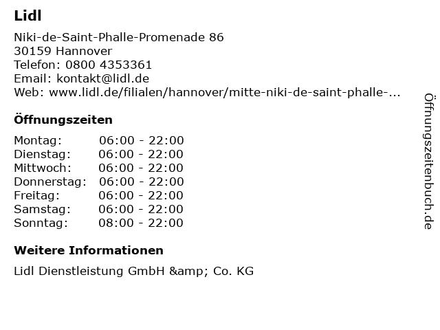 Lidl Dienstleistung GmbH & Co. KG in Hannover: Adresse und Öffnungszeiten