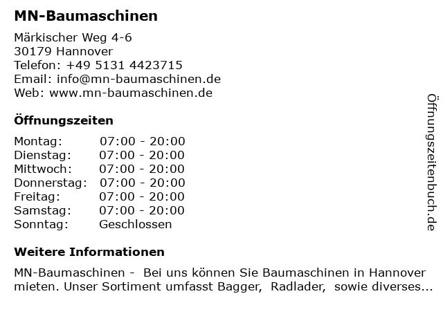 MN-Baumaschinen in Hannover: Adresse und Öffnungszeiten