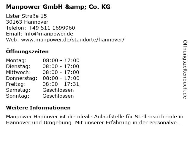 Manpower in Hannover: Adresse und Öffnungszeiten