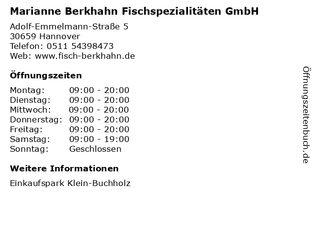 Marianne Berkhahn Fischspezialitäten GmbH in Hannover: Adresse und Öffnungszeiten