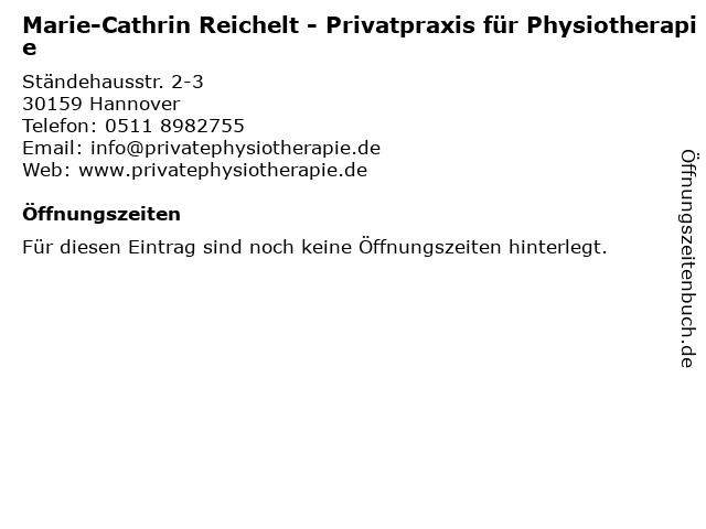 Marie-Cathrin Reichelt - Privatpraxis für Physiotherapie in Hannover: Adresse und Öffnungszeiten