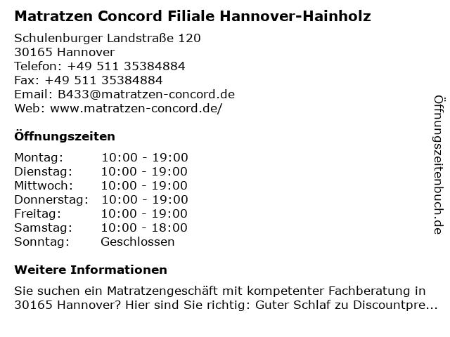 Matratzen Concord in Hannover: Adresse und Öffnungszeiten