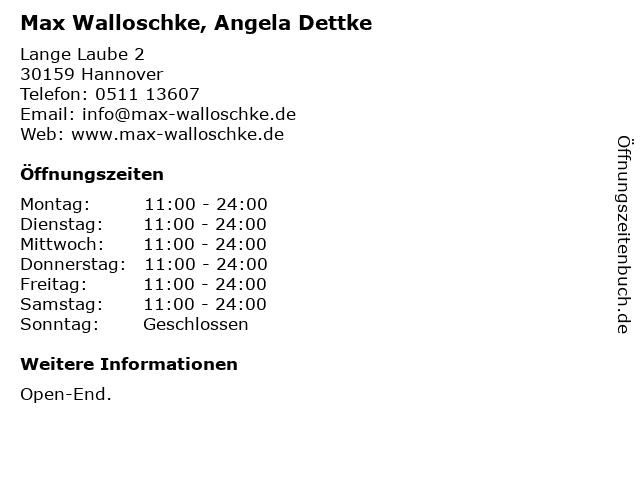 Max Walloschke, Angela Dettke in Hannover: Adresse und Öffnungszeiten
