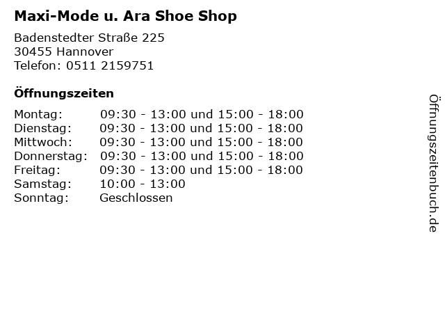 Maxi-Mode u. Ara Shoe Shop in Hannover: Adresse und Öffnungszeiten