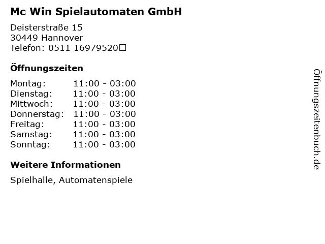 Mc Win Spielautomaten GmbH in Hannover: Adresse und Öffnungszeiten
