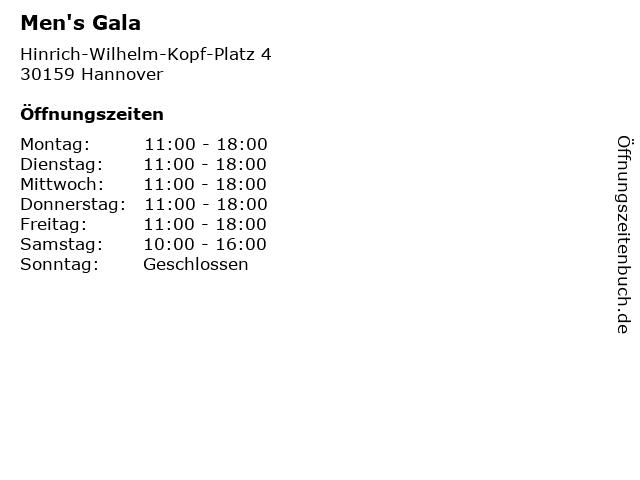 Men's Gala in Hannover: Adresse und Öffnungszeiten