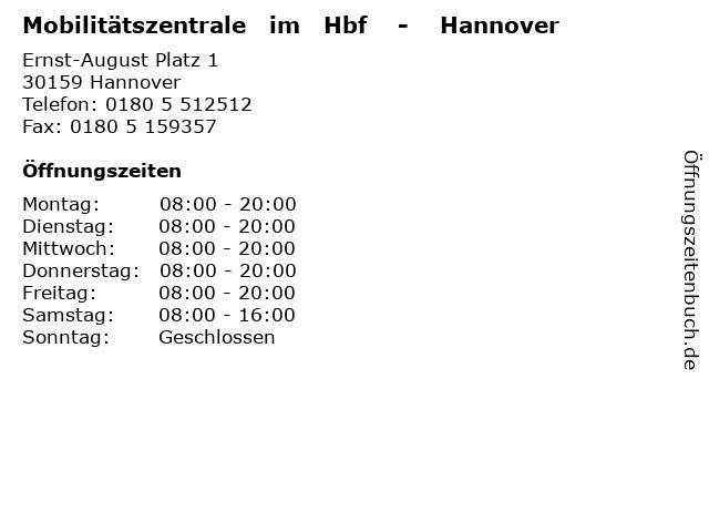 Mobilitätszentrale   im   Hbf    -    Hannover in Hannover: Adresse und Öffnungszeiten
