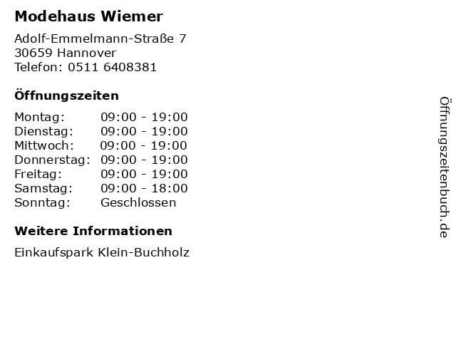 Modehaus Wiemer in Hannover: Adresse und Öffnungszeiten