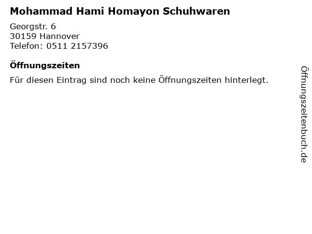 Mohammad Hami Homayon Schuhwaren in Hannover: Adresse und Öffnungszeiten