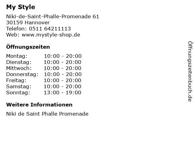 My Style in Hannover: Adresse und Öffnungszeiten