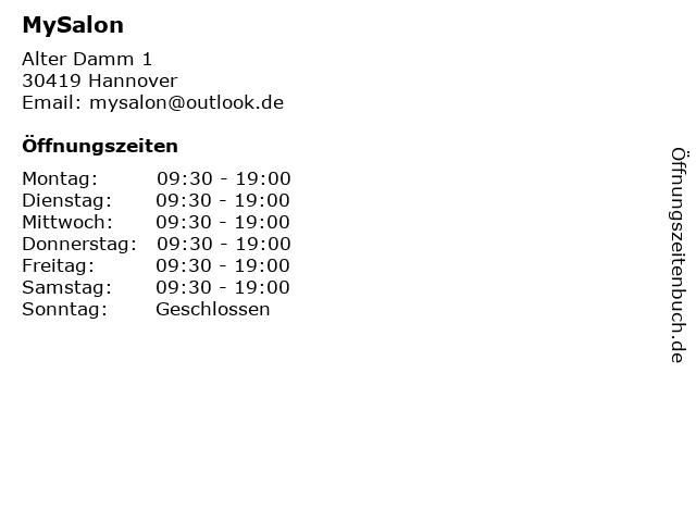 MySalon in Hannover: Adresse und Öffnungszeiten