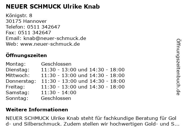 NEUER SCHMUCK Werkstatt für Schmuckgestaltung in Hannover: Adresse und Öffnungszeiten
