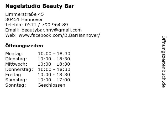Nagelstudio Beauty Bar in Hannover: Adresse und Öffnungszeiten