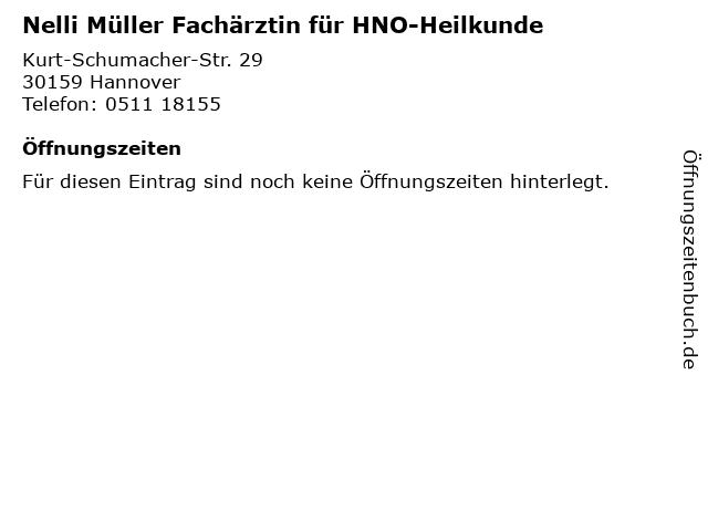 Nelli Müller Fachärztin für HNO-Heilkunde in Hannover: Adresse und Öffnungszeiten