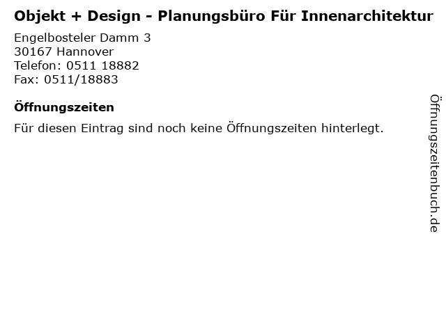 Objekt + Design - Planungsbüro Für Innenarchitektur in Hannover: Adresse und Öffnungszeiten