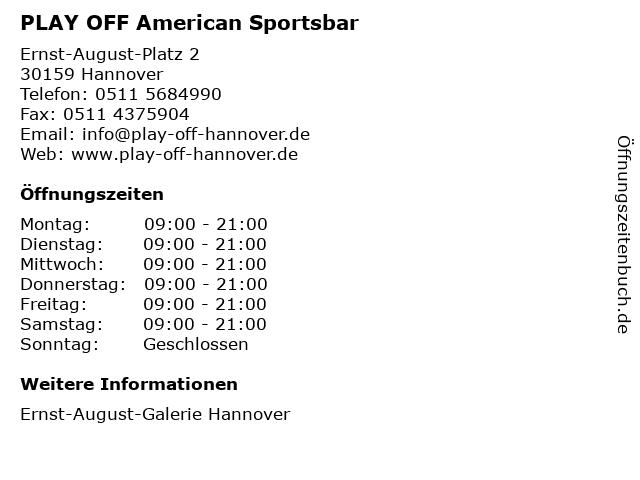PLAY OFF American Sportsbar in Hannover: Adresse und Öffnungszeiten