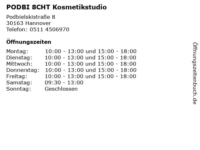 PODBI 8CHT Kosmetikstudio in Hannover: Adresse und Öffnungszeiten