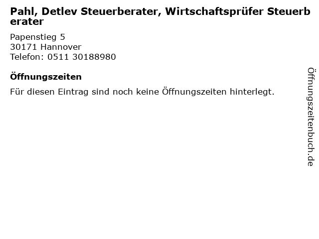 Pahl, Detlev Steuerberater, Wirtschaftsprüfer Steuerberater in Hannover: Adresse und Öffnungszeiten